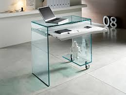 office desk idea. Glass Office Desk Ideas Using Transparent Compact Computer With Wheels And Keyboard Drawer Idea