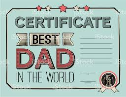 Template Certificate Congratulations For Fathers Day In Vintage