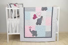 baby girl blanket pink gray elephant quilt blue crib bedding
