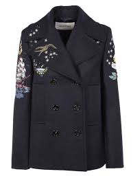 valentino embroidered peacoat for women