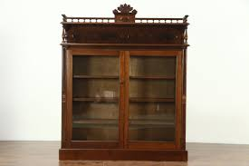 victorian 1880 antique walnut library bookcase adjule shelves glass doors