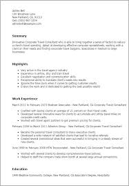 Resume Templates: Corporate Travel Consultant
