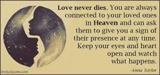 Heaven Quotes For Loved Ones Fascinating Love Never Dies You Are Always Connected To Your Loved Ones In