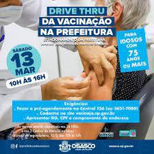 Sábado agora Osasco terá drive thru para vacinar idosos com mais de 75 anos  – TV Osasco