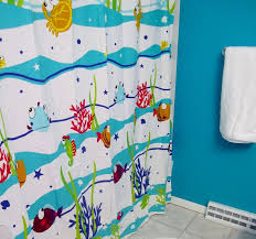 bathroom sea fish shower curtain divider for kids bathroom design combine blue wall paint ideas