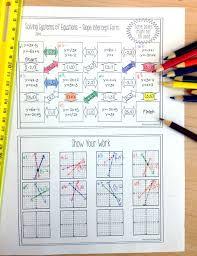 best ideas of algebra problems on slope brilliant systems of equations maze slope intercept form solve
