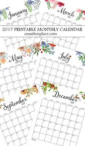 Month At A Glance Calendar Template 2017 Free Printable Monthly Calendar Bloggers Best Diy Ideas