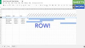 Gantt Chart Using Google Sheets Gantt View With Task Names Google Sheets