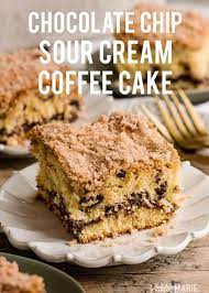 Sprinkle with remaining streusel mix. Chocolate Chip Sour Cream Coffee Cake Recipe Ashlee Marie Real Fun With Real Food