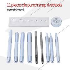 11pcs craft tool punch snap rivet setter base kit for diy leather craft tool