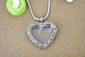 vintage floating locket necklace silver