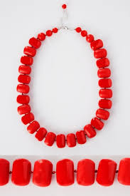 Red Chunky Bead Necklace