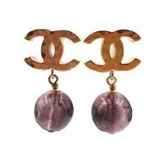 chanel earrings price. chanel cc gold tone metal plum stone bead dangle piercing earrings price