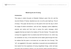 this essay is mainly focused on elizabeth bishops poem one art  document image preview