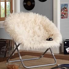 simple manificent white faux fur chair ivory furlicious faux fur hang a round chair pbteen