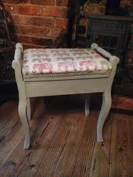 rejuvenated furniture. piano stool with elephant fabric rejuvenated furniture