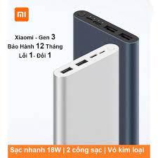 BÁN CHẠY NHẤT ] Sạc Dự Phòng Xiaomi GEN 3 - 10000mAh, 2 Cổng Sạc USB, Bảo  Hành 6 Tháng