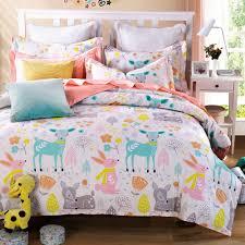 woodland animal friends deer rabbit flower cute cartoon bedding pink bed sheets girls teen kids twin duvet cover set 100 cotton in bedding sets from home