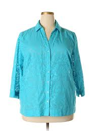 Details About Studio Works Women Blue 3 4 Sleeve Blouse 2 X Plus