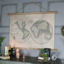 large world map vintage industrial
