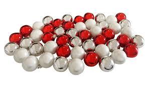 Christbaumkugeln Set Silber Rot Weiß 49 Stück Echt Glas