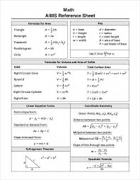 25 Particular Geometry Reference Sheet