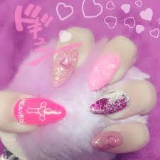 ラメハートホイルホワイトピンク むらさきのネイルデザインno