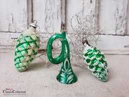 Alter Christbaumschmuck Grün Mit Schnee 2 Zapfen 1 Trompete Weihnachtsbaum Weihnachtsschmuck Nostalgische Weihnachten