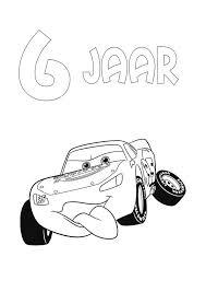Kids N Fun Kleurplaat Cars Verjaardag Bliksem 6 Jaar