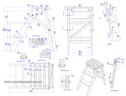 folding step ladder plan assembly 2d drawings
