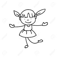 線画図面のかわいい女の子の手します抽象的な幸せな人幸福概念とイラスト