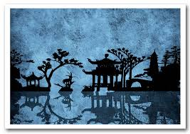 ethnic print the blue japanese garden prints posters
