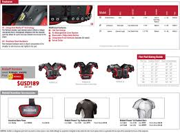 Riddell Football Shoulder Pads Size Chart Sppss Riddell Kombine Phenom Rival Shoulder Pads