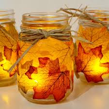 Decorative Things To Put In Glass Jars Autumn Leaf Mason Jar Candle Holder 100