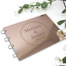Wedding Guest Book Engraved Rose Gold Gloss Acrylic A4 Wedding Guest Book