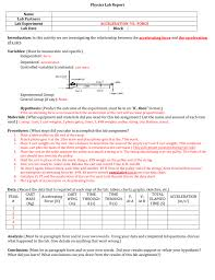 Charts For Physics Lab Physical Science Honors Lab Report