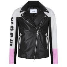 msgm girls black leather biker jacket