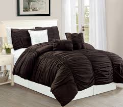 wpm 7 piece royal chocolate brown ruched comforter set elegant bed in a bag luxurious king size bedding com