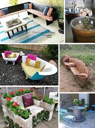 collage of images of reclaimed repurposed ideas for outdoor furniture camping