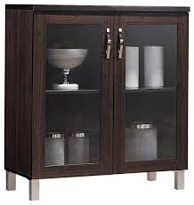 sintra contemporary dark brown sideboard storage cabinet with glass doors