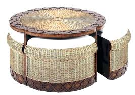 round wicker ottoman coffee table for appealing white with storage baskets