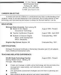 Career Objective For Teacher Resumes Experienced Teacher Resume Objective Objectives For Resumes
