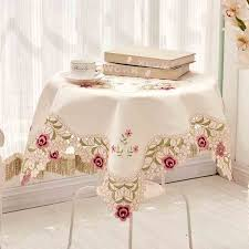 side table cloth luxury embroidered fabric lace wedding home oblong tablecloth cover with peach flowers round