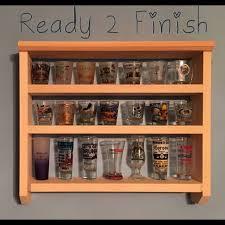 28 shot glass wall shelf display case knick knack trains ready to finish bar