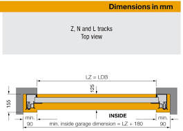 sectional door track dimensions