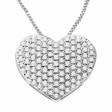 t w diamond pavé puff heart pendant in 10k white gold