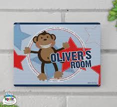 personalised kids door room sign monkey