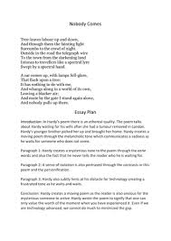english igcse thomas hardy poem nobody comes essay plan by english igcse thomas hardy poem nobody comes essay plan by gserafini99 teaching resources tes