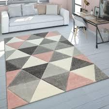 Teppich Wohnzimmer Rosa Grau Pastellfarben 3 D Design Dreieck Muster Kurzflor Grösse160x230 Cm