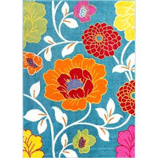 arapaho blue orange area rug well woven bright flowers red yellow green re